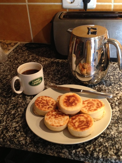 The rest of breakfast, including home made crumpets!